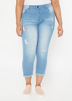 Plus Light Wash Ripped Skinny Jeans