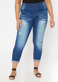 Plus Medium Wash Ripped Skinny Jeans