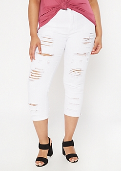 Plus White High Waisted Ripped Skinny Jeans
