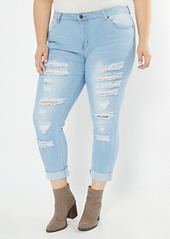 Plus Light Wash Distressed Rolled Jeggings