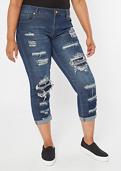 Plus Dark Wash Ripped Repaired Rolled Cuff Ankle Jeggings