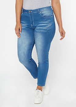 Plus Medium Wash High Waisted Rolled Cuff Booty Jeggings