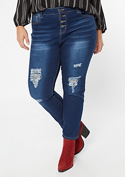 Plus Dark Wash Ripped Knee Button Fly Jeggings
