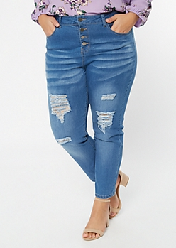 Plus Medium Wash Ripped Knee Button Fly Jeggings