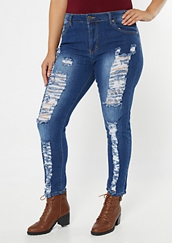 Plus Medium Wash High Wasted Ripped Curvy Jeggings