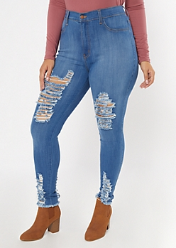 Plus Medium Wash Raw Distressed Skinny Jeans