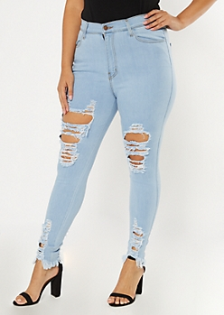 Plus Light Wash Distressed Leg Jeggings