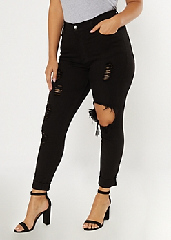 Plus Black Distressed Leg Jeggings