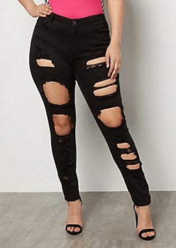 Plus Black High Waisted Destroyed Skinny Jeans