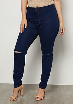 Plus Dark Wash Knee Cutout Skinny Jeans