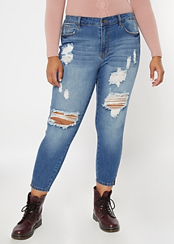 Plus KanCan Medium Wash Distressed Skinny Jeans