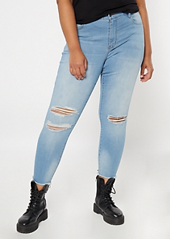 Plus KanCan Light Wash Ripped Skinny Jeans