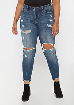 Plus KanCan Dark Wash Distressed Skinny Jeans