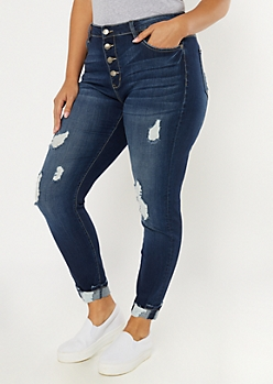 Plus KanCan Dark Wash Exposed Button Jeans