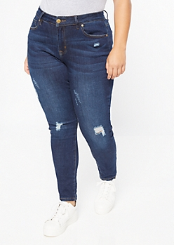 Plus Dark Wash Layered Frayed Hem Jeggings