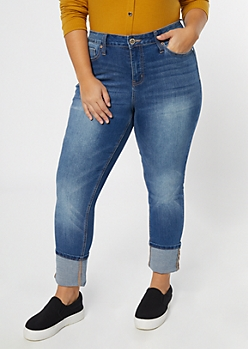 Plus Medium Wash Rolled Straight Leg Jeggings
