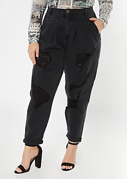 Plus Black Ripped Roll Cuff Balloon Jeans