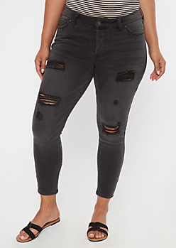 Plus Washed Black Ripped Skinny Jeans