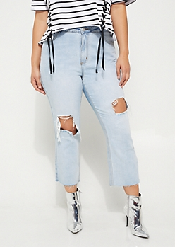 Plus Destroyed High Rise Ankle Straight Jean
