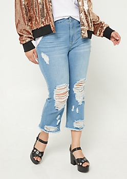 Plus Vintage High Rise Destroyed Ankle Straight Jeans