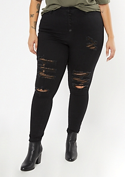 Plus Black Button Front Curvy Jeggings