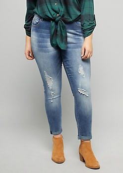 Plus YMI Wanna Betta Butt Medium Wash Ripped Cuffed Ankle Jeans