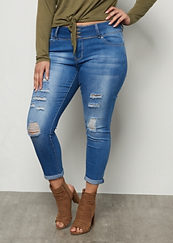 Plus YMI Wanna Betta Butt Medium Wash Distressed Rolled Booty Jeans