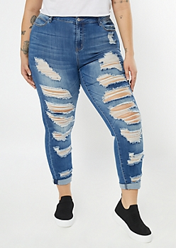Plus Medium Wash Distressed Rolled Jeggings