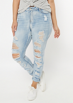 Plus Light Wash Destructed High Waisted Jeggings