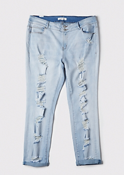 Plus Light Wash Ripped Rolled Cuff Ankle Jeans