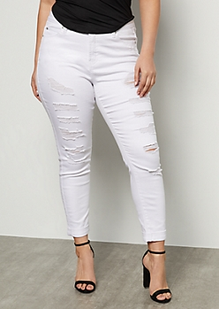 Plus White Mid Rise Distressed Cropped Jeggings