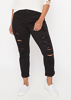 Plus Black Ripped Roll Cuff Ankle Jeggings