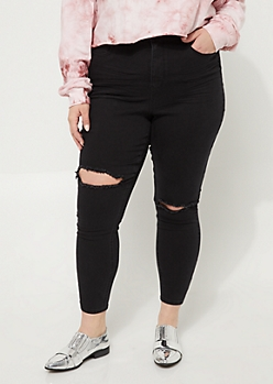 Plus Black Destroyed Uber High Rise Jeggings