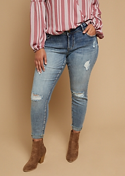 Plus Faded Dark Wash Distressed Cuffed Ankle Jeans