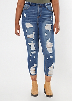 Plus Recycled Dark Wash High Waisted Ripped Jeggings