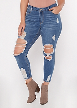 Plus Medium Wash Mid Rise Destructed Ankle Jeggings