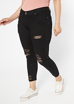 Plus Black Mid Rise Distressed Ankle Jeggings