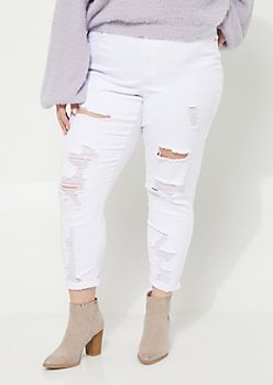 Plus White Destroyed Rolled Cuff High Waist Jeggings