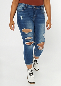 Plus Dark Wash Distressed Rolled Jeggings