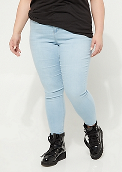 Plus Light Wash Extra High Waisted Jeggings in Short