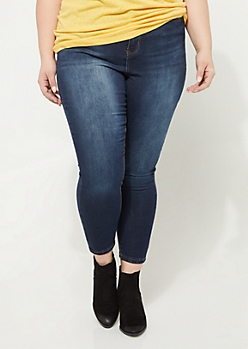 Plus Dark Wash Extra High Waisted Jeggings in Short