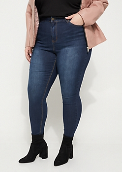 Plus Dark Wash Uber High Rise Jeggings in Regular