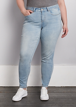 Plus Light Blue Vintage Washed Skinny Jeans