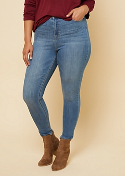 Plus Medium Wash High Waisted Jeggings in Regular