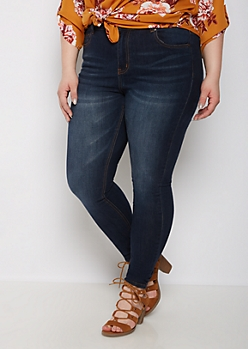 Plus Dark Wash High Waisted Jeggings in Long