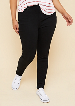 Plus Black High Rise Skinny Jeggings in Short