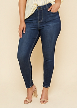 Plus Dark Wash High Rise Skinny Jeggings in Short