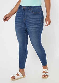 Plus Ultimate Stretch Dark Wash High Waisted Jegging in Short