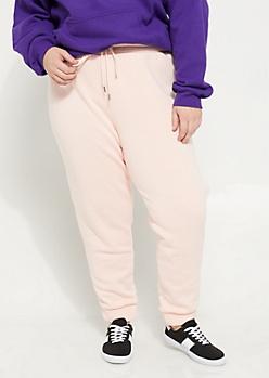 Plus Pink High Waisted Fleece Joggers