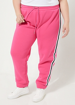 Plus Pink Varsity Striped High Waisted Joggers